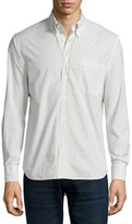 Billy Reid Woven Check Oxford Shirt, White Pattern