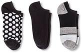 Merona Women's Low-Cut Socks 3-Pack Toe Stripe Black One Size