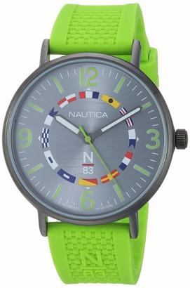 Nautica N83 Men's NAPWGS912 Wave Garden Green/Gray Silicone Strap Watch