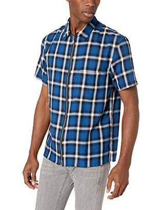 The Kooples Men's Men's Zip Up Short Sleeve Check Shirt