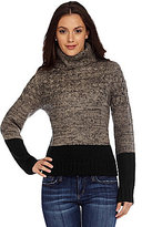 Miss Me Two-Tone Turtleneck Sweater
