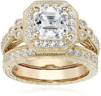 Amazon Collection Yellow-Gold-Plated Sterling Silver Antique Ring set with Asscher-Cut Swarovski Zirconia Size 6