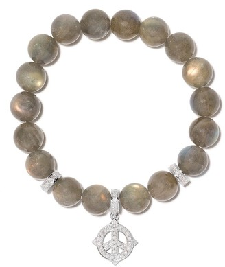 Loree Rodkin 14kt White Gold Diamond Stretch Labradorite Bracelet