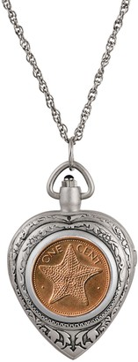 American Coin Treasures Starfish Coin Heart Watch Pendant