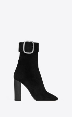 Saint Laurent Boots Joplin Buckle Booties In Suede Black 3