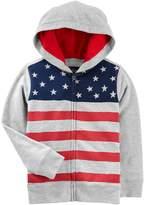 Osh Kosh Oshkosh Bgosh Boys 4-12 American Flag Patriotic Zip Hoodie