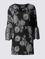 Marks and Spencer Floral Print Lace Cuff 3/4 Sleeve Tunic