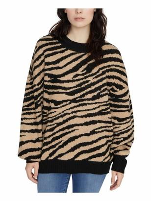 Sanctuary Womens Black Animal Print Long Sleeve Crew Neck T-Shirt Sweater Juniors UK Size:16