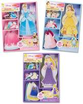Melissa & Doug Disney's Cinderella, Belle & Rapunzel Magnetic Dress Up Bundle by