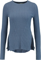 Autumn Cashmere Zip-detailed ribbed-knit sweater