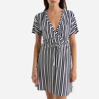Jacqueline De Yong Striped Flared Wrapover Dress in Knee-Length with Short Sleeves