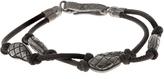 Bottega Veneta Oxidised-silver embellished leather bracelet