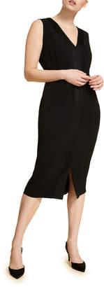 Marina Rinaldi Plus Size V-Neck Sleeveless Sheath Dress w/ Attachable Sleeves