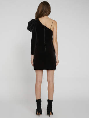 Alice + Olivia MILA VELVET PUFF SLEEVE DRESS