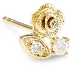 Sydney Evan 14K Yellow Gold & Diamond Marquis Eye Rose Single Stud Earring