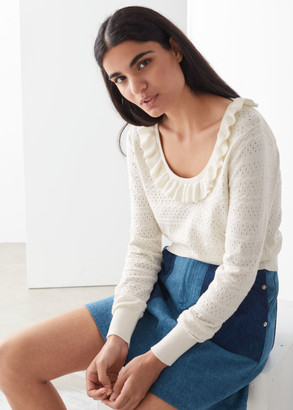 And other stories Frilled Pointelle Knit Sweater