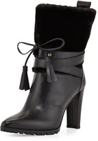 Stuart Weitzman Furnow Faux-Fur Leather Bootie, Black