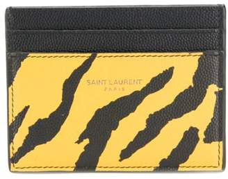 Saint Laurent animal print credit card case yellow