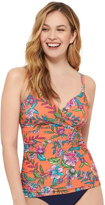 Croft & Barrow Women's Crossover Ruched Tankini Top