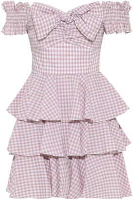 Caroline Constas Helena Off-the-shoulder Tiered Gingham Cotton-poplin Mini Dress