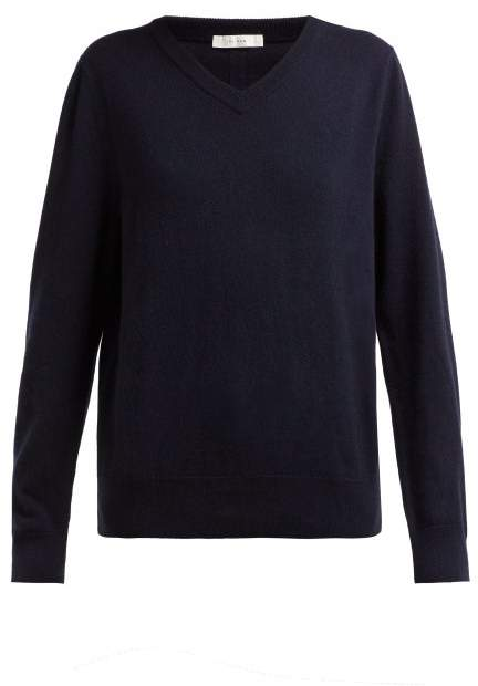 The Row Maley V Neck Cashmere Sweater - Womens - Navy