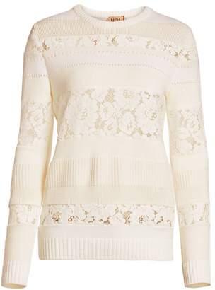No.21 No. 21 Mixed Lace Knit Sweater