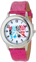 Disney Kids' W000908 Tween Minnie Stainless Steel Pink Glitter Leather Strap Watch