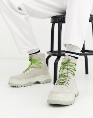 ASOS DESIGN lace up boot in off white faux suede with chunky sole