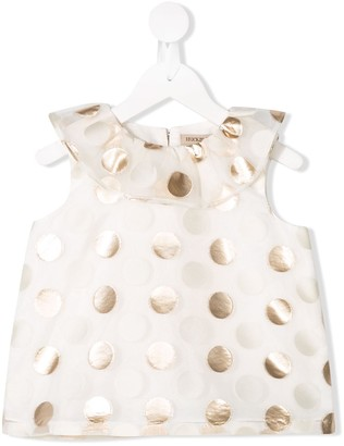 Hucklebones London Ruffle Neck Polka Dot Top