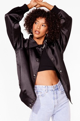 Nasty Gal Womens You Gotta Let Disco Satin Bomber Jacket - Black - 6