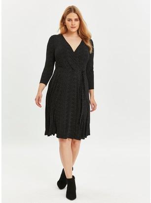 Evans Black And White Spot Wrap Jersey Dress