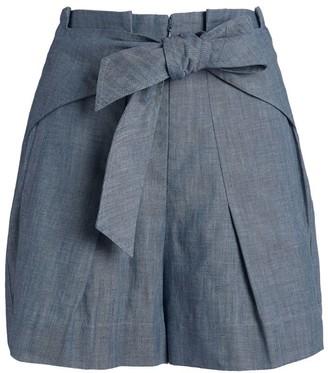 3.1 Phillip Lim Chambray High-Waist Shorts