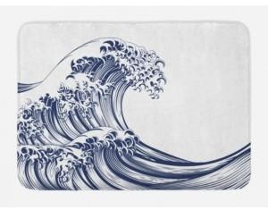 Ambesonne Japanese Wave Bath Mat Bedding