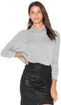 Bobi Draped Rib Long Sleeve Turtleneck Top