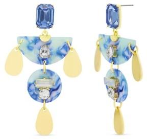 Catherine Malandrino Women's Blue Rhinestone Geo Shaped Drop Earrings