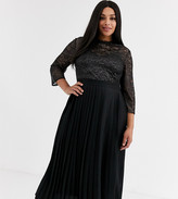 Little Mistress Plus pleated midaxi dress with metallic lace in black