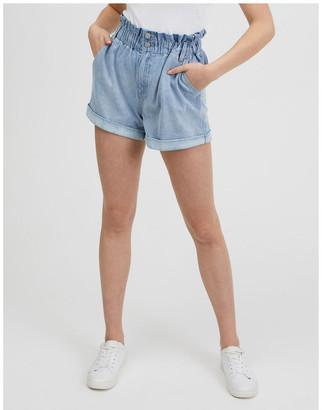 Miss Shop Paper-bag Denim Shorts Lt