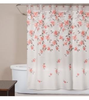 "Saturday Knight Coral Garden Textured Floral-Print 70"" x 72"" Shower Curtain Bedding"