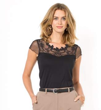 Anne Weyburn T-Shirt with Mesh & Lace Insert
