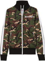 Palm Angels Striped Camouflage-print Satin-jersey Track Jacket - Army green