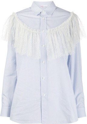 RED Valentino Lace Detail Striped Shirt
