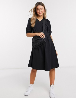 Monki Yoana puff short sleeve tie wrap dress in black