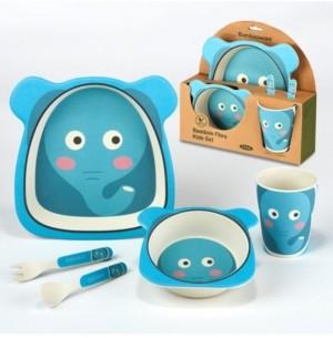 Certified International Elephant Eco Friendly Bamboo Fiber 5-Pc. Kids Dinnerware Set