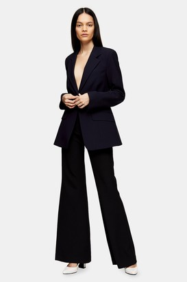 Topshop Womens **Navy Fitted Blazer By Navy Blue