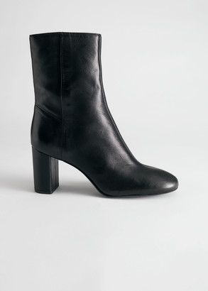 And other stories Smooth Leather Block Heel Boots