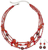 JCPenney Asstd Private Brand Red 4-Row Necklace & Earrings Set
