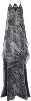 Halston Layered Metallic Printed Silk-blend Chiffon Gown - Gray