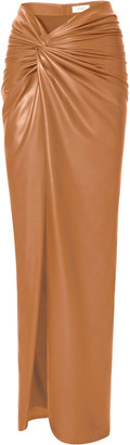 Sally LaPointe Draped Coated Jersey Front-Slit Sarong