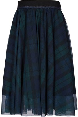 Lapin House Tulle Plaid Print Midi Skirt