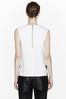 Helmut Lang White leather-trimmed Ravel Tank Top